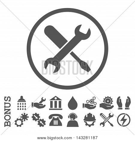Tuning glyph icon. Image style is a flat pictogram symbol inside a circle, gray color, white background. Bonus images are included.