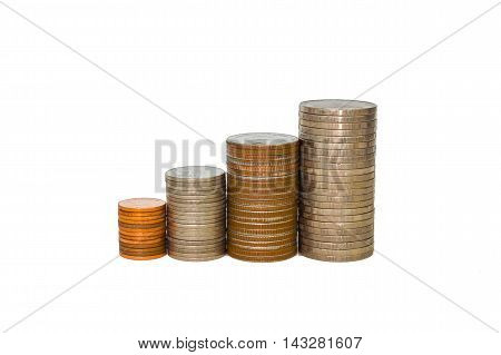 Coin stacks on a white background coin isolate.