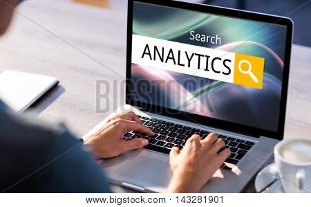 Search result analytics against cropped image of man working on laptop