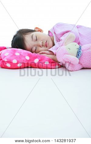 Healthy Children Concept. Asian Girl Sleeping Peacefully. Isolated On White Background.