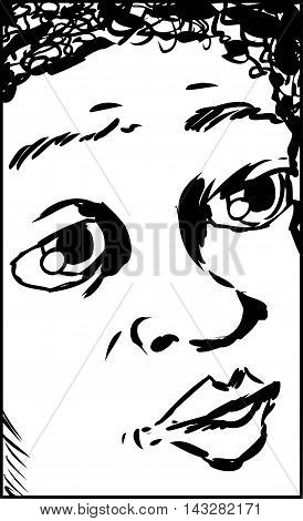 Close Up Cartoon Of Uneasy Child
