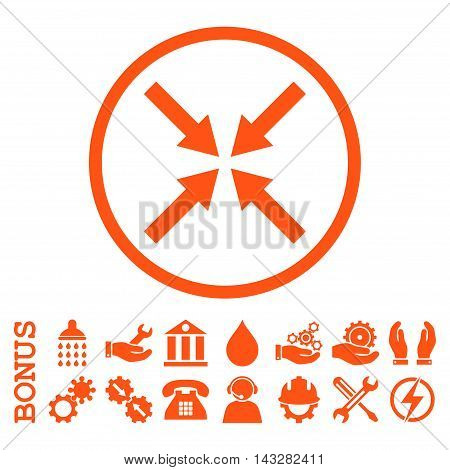 Center Arrows glyph icon. Image style is a flat pictogram symbol inside a circle, orange color, white background. Bonus images are included.