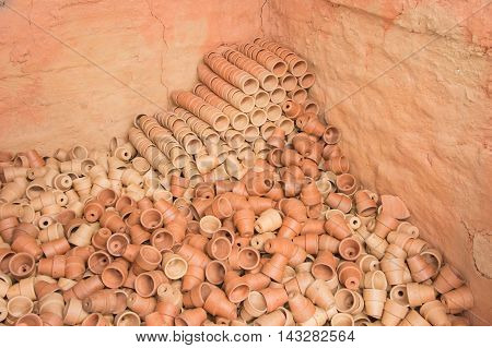 Group of Earthenware, Earthenware texture and background.