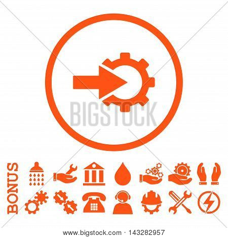 Cog Integration glyph icon. Image style is a flat pictogram symbol inside a circle, orange color, white background. Bonus images are included.