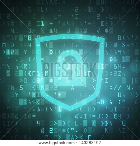 Safety computer digital data code background vector illustration with closed padlock in shield icon.