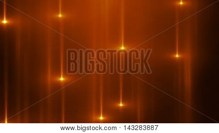 3d render abstract background with vertical light lines and flares. Background with orange lines in motion darks tones could be useful as a frame or a texture. Blurred light lines with flares. 3D illustration.