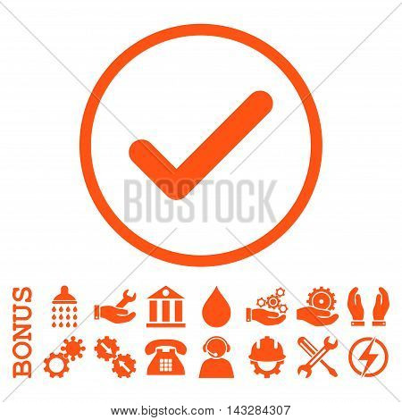 Ok glyph icon. Image style is a flat pictogram symbol inside a circle, orange color, white background. Bonus images are included.
