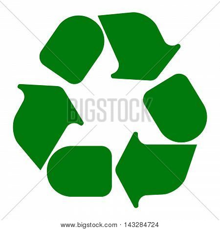 Recycling Symbol White On Green. Vector Illustration.