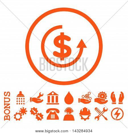 Refund glyph icon. Image style is a flat pictogram symbol inside a circle, orange color, white background. Bonus images are included.