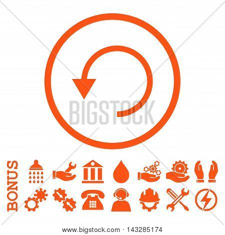 Rotate Ccw glyph icon. Image style is a flat pictogram symbol inside a circle, orange color, white background. Bonus images are included.
