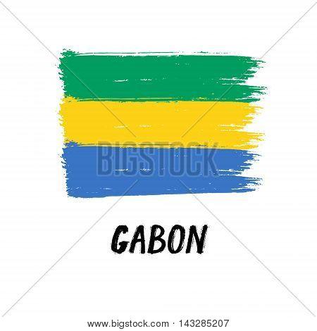 Flag Of Gabon  - Color Grunge Icon