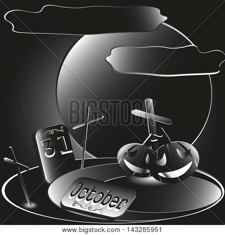 Halloween night vector illustration Drawing Halloween night of October 31 made style applique paper color black and white