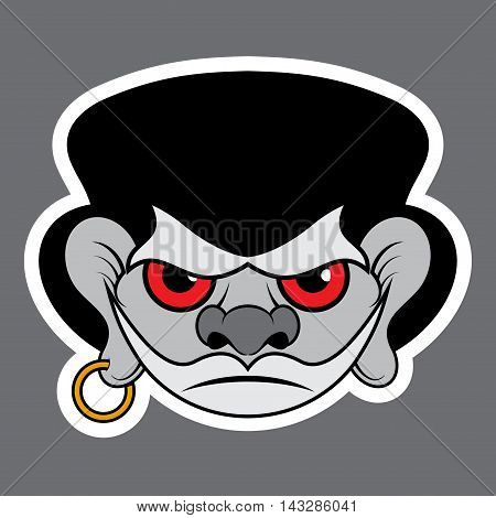 sticker - evil buccaneer with red eyes black hat and gold earring