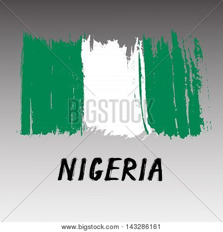 Flag Of Nigeria  - Color Grunge Icon
