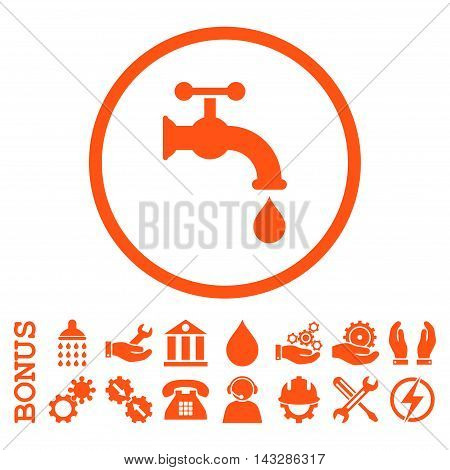 Water Tap glyph icon. Image style is a flat pictogram symbol inside a circle, orange color, white background. Bonus images are included.