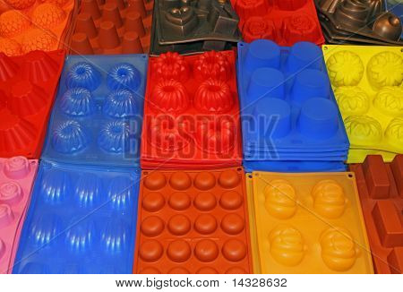Colorful Bowls And Resistant Silicone Molds For Sale At Market