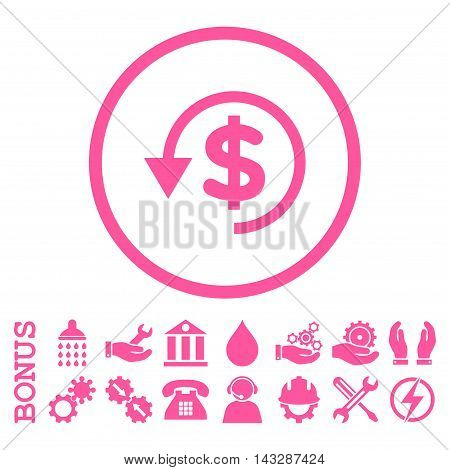 Chargeback glyph icon. Image style is a flat pictogram symbol inside a circle, pink color, white background. Bonus images are included.
