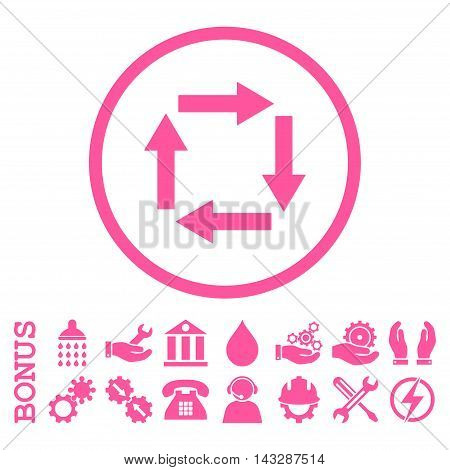 Circulation Arrows glyph icon. Image style is a flat pictogram symbol inside a circle, pink color, white background. Bonus images are included.