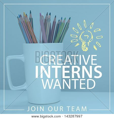 Creative interns wanted announcement message about internship