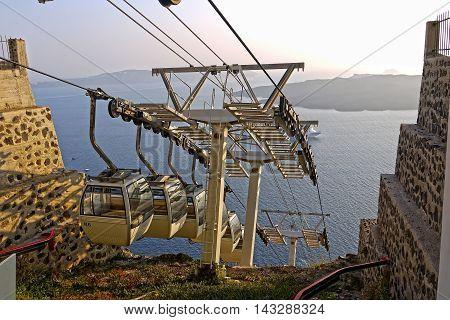 Beautiful view of Santorini Cable Car, Santorini. GREECE.