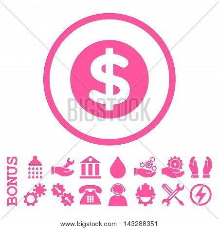 Finance glyph icon. Image style is a flat pictogram symbol inside a circle, pink color, white background. Bonus images are included.