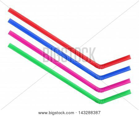 Colorful straws isolated on white background .