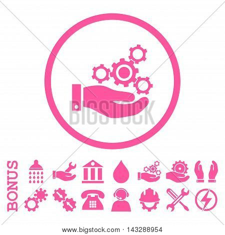 Mechanics Service glyph icon. Image style is a flat pictogram symbol inside a circle, pink color, white background. Bonus images are included.