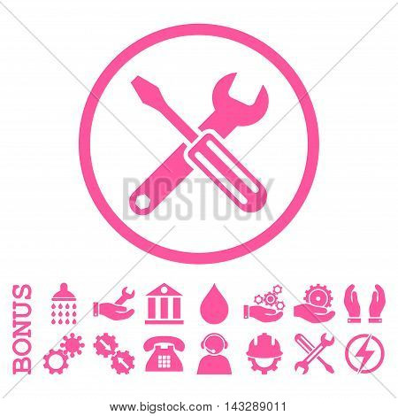 Options glyph icon. Image style is a flat pictogram symbol inside a circle, pink color, white background. Bonus images are included.