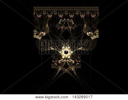 yellow flower with crown fractal on a black background in the center of the picture