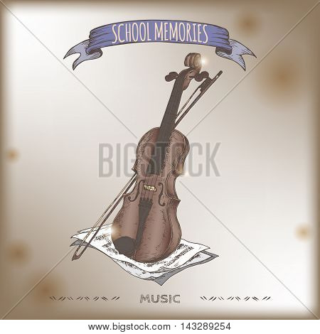 Vintage violin color hand drawn sketch placed on old paper background. School memories collection. Great for school, art education, music shop, retro design.