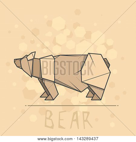 Vector simple illustration paper origami of brown bear.
