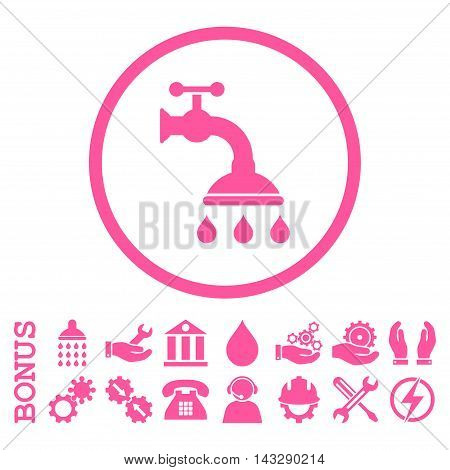 Shower Tap glyph icon. Image style is a flat pictogram symbol inside a circle, pink color, white background. Bonus images are included.