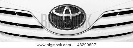 Kazakhstan, Ust-Kamenogorsk, july 30, 2016: Toyota - Japanese automobile company. Nameplate of Toyota, toyota sign, toyota logo