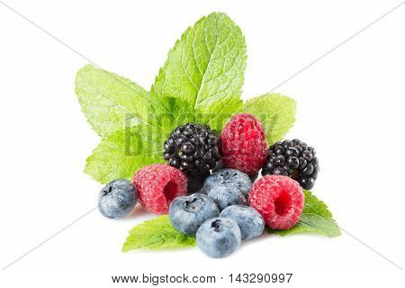 Mix Of Different Berries On A White Background. Isolated