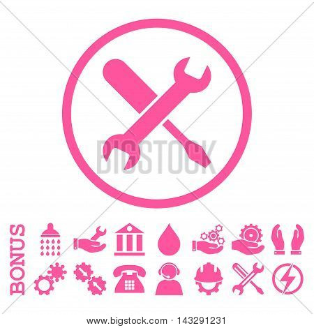 Tuning glyph icon. Image style is a flat pictogram symbol inside a circle, pink color, white background. Bonus images are included.