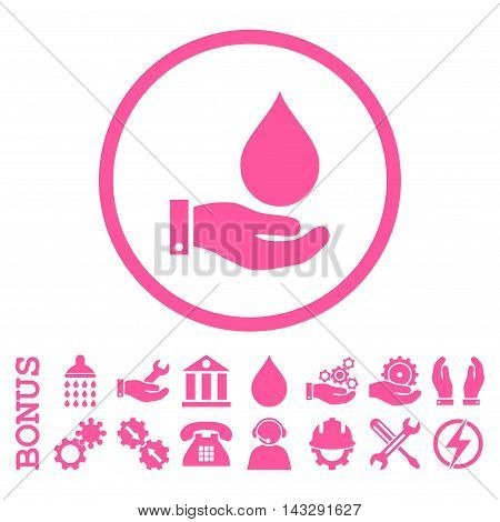 Water Service glyph icon. Image style is a flat pictogram symbol inside a circle, pink color, white background. Bonus images are included.