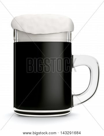Glass mug with dark beer isolated on white background. 3d rendering