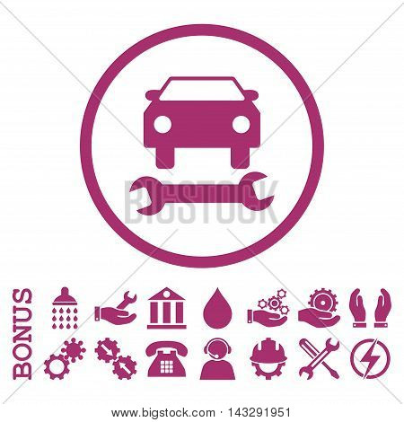 Car Repair glyph icon. Image style is a flat pictogram symbol inside a circle, purple color, white background. Bonus images are included.