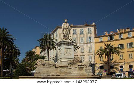 The statue of Napoleon Bonoparte in historical center og Ajaccio Corsica island France.