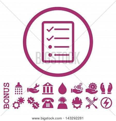 Checklist Page glyph icon. Image style is a flat pictogram symbol inside a circle, purple color, white background. Bonus images are included.