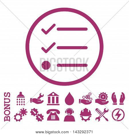 Checklist glyph icon. Image style is a flat pictogram symbol inside a circle, purple color, white background. Bonus images are included.