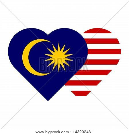 malaysia flag heart shape sign/symbol vector illustration for independence day