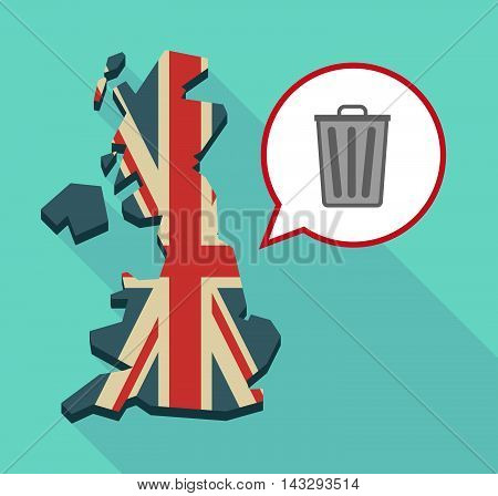 Long Shadow United Kingdom Map With A Comic Balloon And A Trash Can