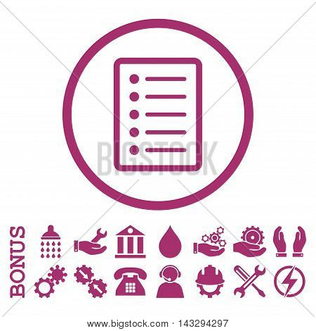 List Page glyph icon. Image style is a flat pictogram symbol inside a circle, purple color, white background. Bonus images are included.