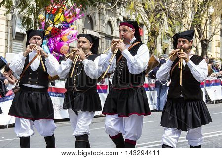 CAGLIARI, ITALY - May 1, 2016: 360 ^ Sant'Efisio Festival - Sardinia - launeddas group of musicians with traditional Sardinian costume