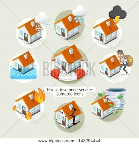House insurance business service isometric icons template. Vector illustration. Can be used for workflow layout banner diagram number options web design timeline infographics.