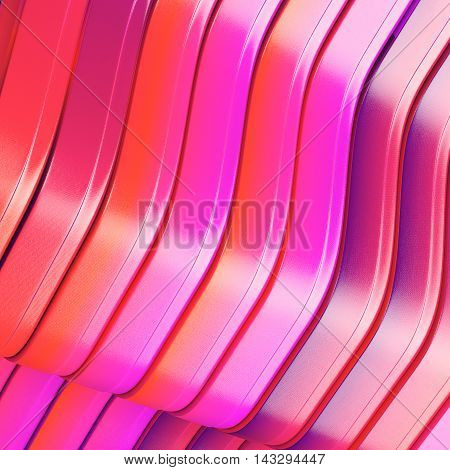 Bright stiped abstract metal background. 3d rendering