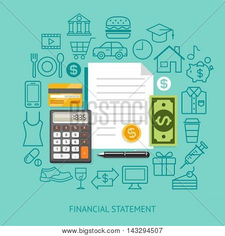 Financial Statement Conceptual Flat Style. Vector Illustration. Can Be Used For Workflow Layout Template Banner Diagram Number Options Web Design Infographics Timeline.