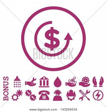 Refund glyph icon. Image style is a flat pictogram symbol inside a circle, purple color, white background. Bonus images are included.