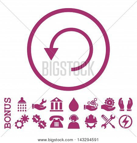 Rotate Ccw glyph icon. Image style is a flat pictogram symbol inside a circle, purple color, white background. Bonus images are included.